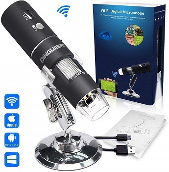 Kongqiabona Mini Portable 2MP HD Wireless WiFi Digital Microscope 50~1000X 8LED Rotary Base Electronic Microscope Adjustable Brightness